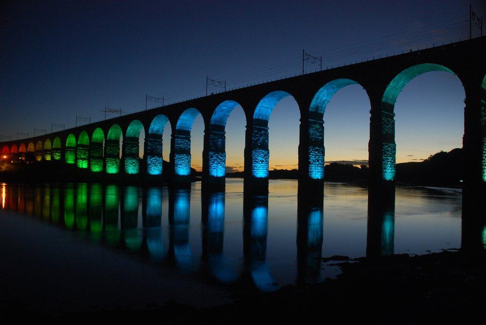 Berwick Bridge by night