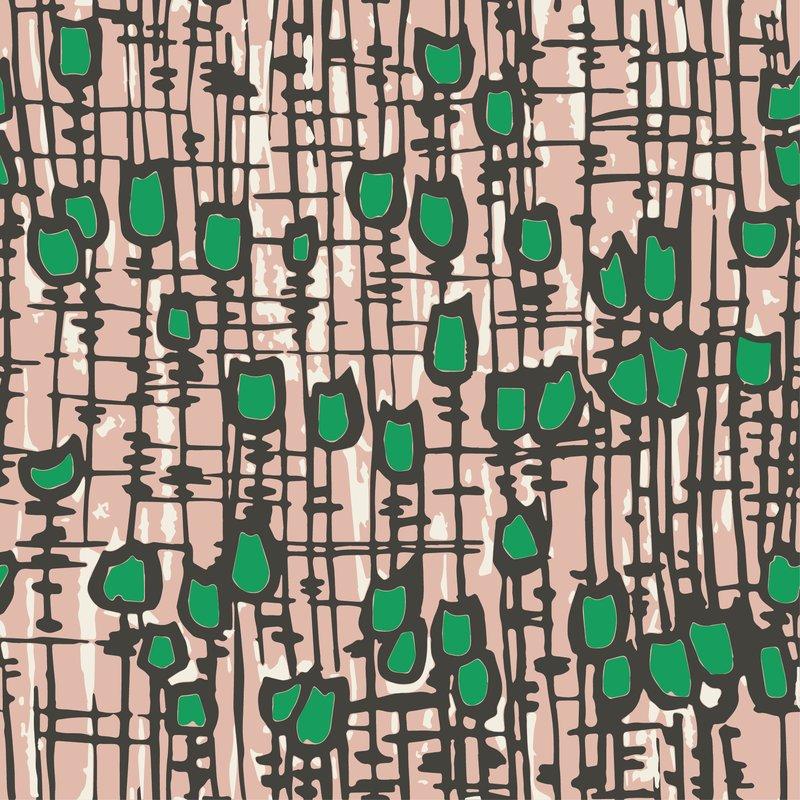 HemingwayDesign Textiles Tulips Pink Green