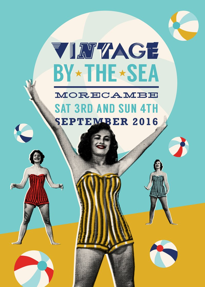 morecambe vintage by the sea graphic beach ball
